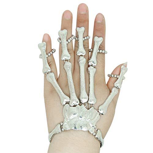 Halloween Requisiten Geschenk Nachtclub Party Punk Finger Armband Gothic Skull Glove Halloween Cosplay Kostümzubehör Halloween Handschuhe Hängende Verzierung Zubehör (Silber)