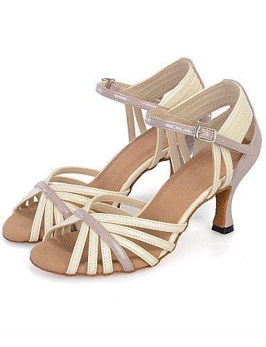 ShangYi Chaussures de danse(Jaune / Ivoire) -Personnalisables-Talon Bobine-Similicuir-Ventre / Latine / Jazz / Baskets de Danse / Moderne / Samba Yellow