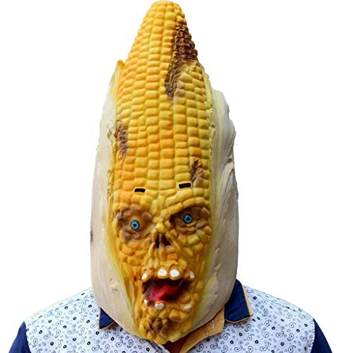 INOOY Halloween Kostüm Party - Latex Gemüse Kopf Mais Maske - Halloween Kopfbedeckung - Variation Mais Styling Maske - Funny Adult Party Party Supplies Maskerade
