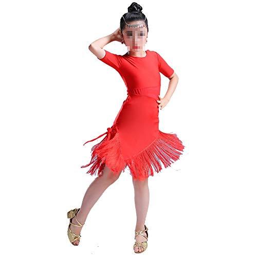 Zhangcaiyun Tango Tanzkleid Outfits Tanzkleider Pailletten Quaste Rock Latin Dance Kostüme für Kinder Flapper Kleid Kostüm (Farbe : Rot, Größe : 150cm)