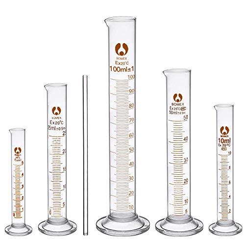 cococity Glas Meßzylinder Graduierten Glasmesszylinder Chemistry Laboratory Messwerkzeuge mit Glasstab 5ML 10ML 25ML 50ML 100ML (Messzylinder Glas)