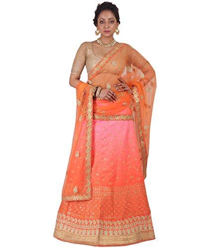 Indian Ethnicwear Bollywood Pakistani Wedding Orange A-Line Lehenga Semi-stitched-DIVISL025