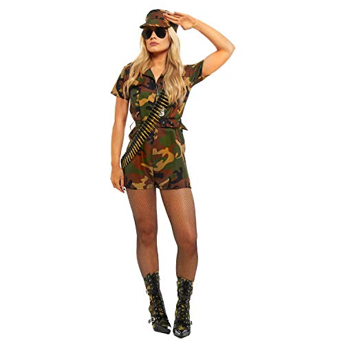 Camo Commando Kostüm - sowest Ladies Army Soldier Outfit &