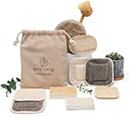 Set of 10 Assorted Hemp and Loofah Kitchen sponges, Bamboo and Bristle Dish Brush, eco Friendly scrubbers, and