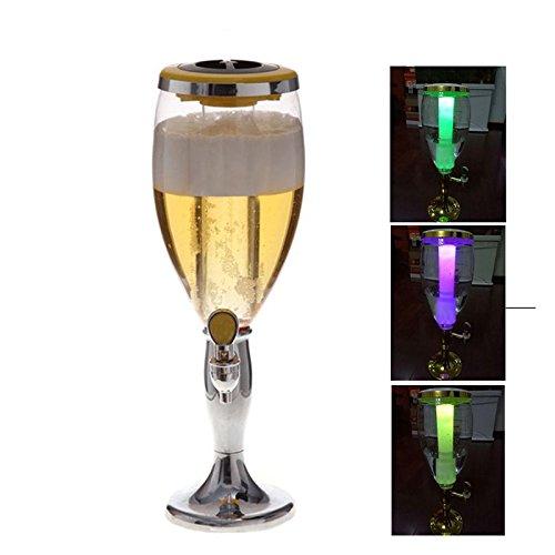 3L Kunststoff Bier Tower Getränke Spender mit Wasserhahn und Ice Tube für Trinken, silber (Kalte Getränke Tower)