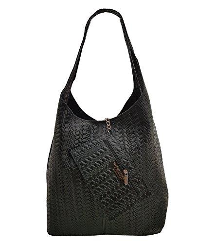 Damen Ledertasche Shopper Wildleder Handtasche Schultertasche Beuteltasche Metallic look (Schwarz Geflochten) (Wildleder Schwarze Blume)