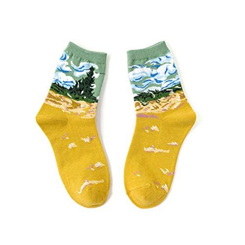 Maleya Damen Maedchen Stricken Mehrfarbig Witzige Baumwolle Bunt Muster Socken, Mehrfarbig Mode Männer Frauen Unisex Casual Cotton Print Mittlere Strümpfe Socken -