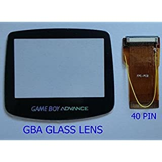 GBA Game Boy Advance 40 Pin Ribbon Cable Backlit Adapter & Glass Screen Lens