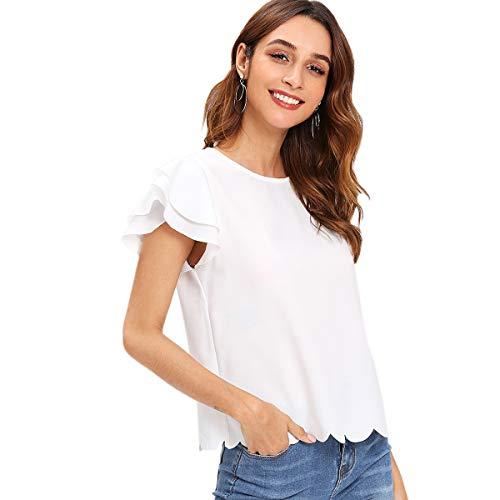 DIDK Damen Sommer Bluse Rüschen T-Shirt Kurzarm Shirt mit Muscheln Oberteil Weiß S - Rüschen Kurzarm Bluse