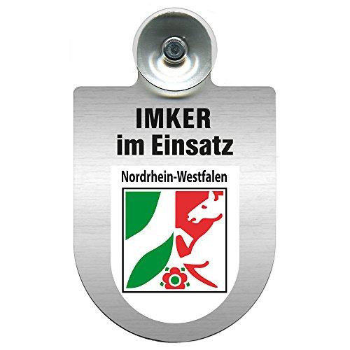 Einsatzschild mit Saugnapf Imker im Einsatz 309382 incl. Regionenwappen nach Wahl Farbe Region Nordrhein-Westfalen