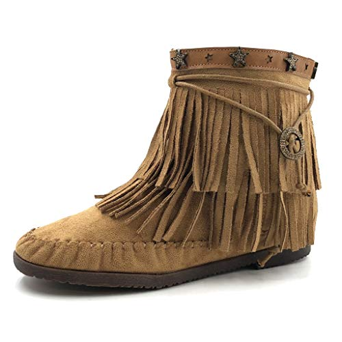 Angkorly - Zapatillas Moda Botines Western/Occidental Cowboy Flexible Mujer Fleco Estrella tacón Plano 2 CM - Camel 2 M65 T 37