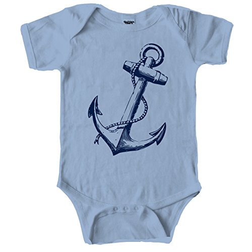 Crazy Dog Tshirts Anchor Baby Cute Nautical Boating Baby Creeper Bodysuit For Infants (Blue) 6-12 Months - Baby-Jungen - 6-12 Months (Blaue Baby-creeper)