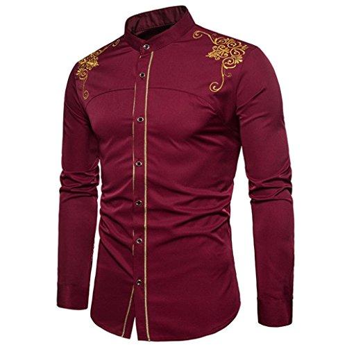 Oliviavan,camicetta delle camice dei vestiti delle camice lunghe del ricamo del bottone lungo del manicotto degli uomini dei pantaloni a vita bassa a forma di attraente