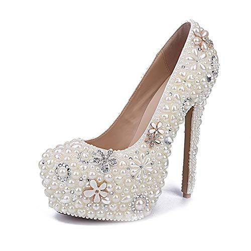 Moreforlove Pumps for Damen Bridal Stilettos 16cm / 6.3