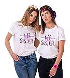 JWBBU Best Friends T-Shirt für 2 Damen Mädchen BFF Freundin Shirts Zwei Stücke Geschenk Freundschaft Sommer Oberteil Tops(Weiß2,Sister-XS+XS)