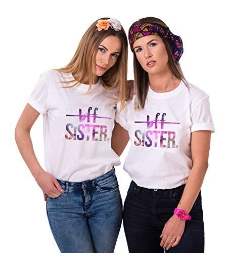 JWBBU Best Friends T-Shirt für 2 Damen Mädchen BFF Freundin Shirts Zwei Stücke Geschenk Freundschaft Sommer Oberteil Tops(Weiß2,Sister-S+S)