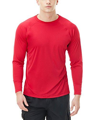TSLA Herren UPF 50 + schwimm Shirt Loose-Fit schwimm Langarm T-Shirt Rashguard Top, Basic Sun Block(mss03) - Rot, Medium