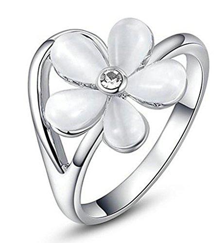 Beydodo Vergoldet Damen Versprechen Ringe Fünf Blütenblatt Blumes Form Größe 57 (18.1) Weiß Gold