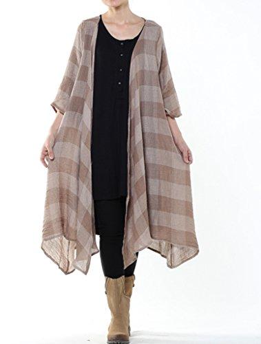 MatchLife Femme Manches Longues Ourlet Irrégulier Plaid Coton Manteau Cropped-Kaki