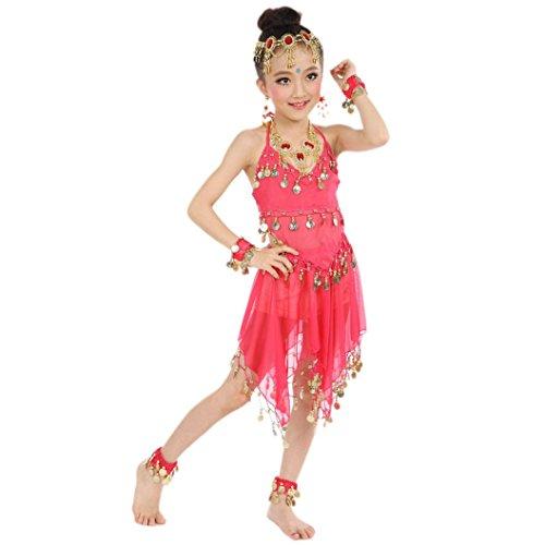 Hunpta Handgemachte Kinder Mädchen Bauchtanz Kostüme Kinder Bauchtanz Ägypten Tanz Tuch 100-130CM (Hot Pink)