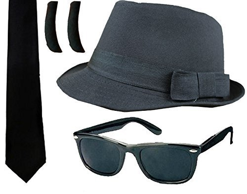 BLUES KIT FANCY DRESS ACCESSORY COSTUME SET BLACK FEDORA + BLACK GLASSES + SIDEBURNS + BLACK TIE AMERICAN MUSIC BAND by ILOVEFANCYDRESS