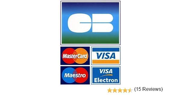 Autocollant CB accept/ée Voiture Mur Mural Boutique Hotel Taxi Carte bancaire Bleue visa sticker logo 1 Taille 12 cm