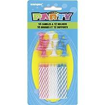 Unique Party -  Velas de Cumpleaños y Portavelas - Colores Surtidos - 18 Velas y 12 Portavelas (7902)