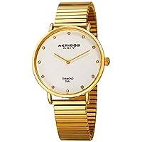 Akribos XXIV Diamond Classic Expansion Women's White Stainless Steel Band Watch - AK927YG