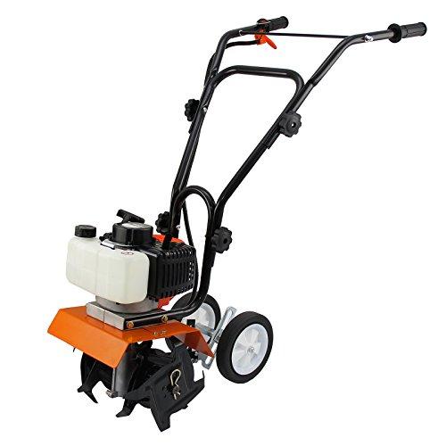 T- Mech Elektrische Motorhacke Gartenfräse Bodenfräse Fräse Rotavator Gartenwerkzeug 52cc 2 Takt Benzinmotor + Gratis Werkzeugset und Sicherheitsausrüstung