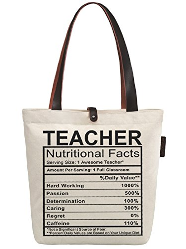 So'each Women's Awesome Teacher Graphic Top Handle Canvas Tote Shoulder Bag (Tote Bag Handle)