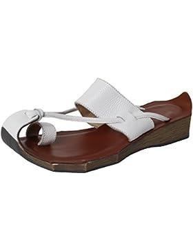 Vogstyle Damen Lederschuhe Freizeit Sandalen Slippers Zehentrenner