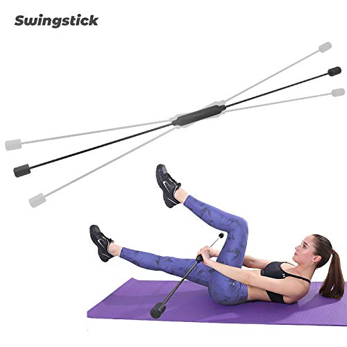 ISE Flexistab Swingstick Flexibler Swingstick Gymnastik für Zuhause Schwingstab aus Fiberglas 160cm - Rot&Schwarz SS1001 (SY-SS1001-BK)