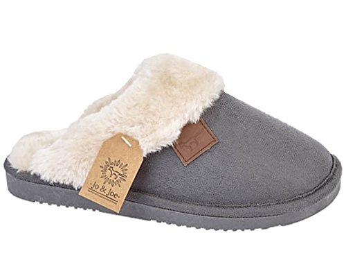 Ladies Wicklow Tartan Faux Fur Trim Slip On Mule Slippers Shoes Size...