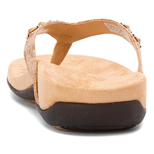 Vionic Floriana Womens Thong Sandals Bronze Croco - 6 Wide Gold Cork