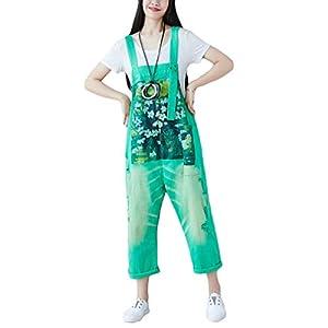 YuanDian Damen Latzjeans Weites Bein Große Größen Denim Latzhose Overalls Strampler Jeans Boyfriend Loose Fit Umstands Schwangerschaft übergroße Jumpsuits Hose