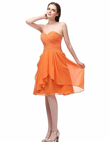 Sarahbridal Damen Mini Chiffon Ballkleid Herzenform Abendkleider Faltenrock Abschlussballkleider SSD247 Burgunderrot