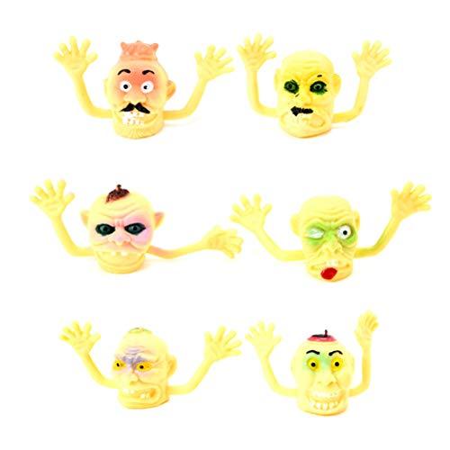 Toyvian 6 stücke fingerpuppen Simulation Halloween fingerpuppen Hexe interaktives Spielzeug Requisiten für Kind Kind (gelb Geist Kopf)