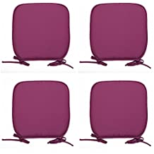 R&Z Set of 4 Padded Chair Seat Pads Cushion - Plain D Shaped Design 38x38x1.5cm (Purple, 8)