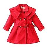 Baby-Mädchen Mantel Trenchcoat-Baumwolle-Tailliert-Zweireiher-Frühling Rot/120cm