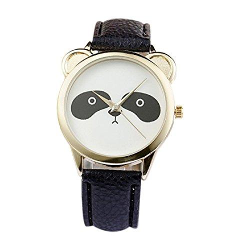 SODIAL(R) Neutral Fashion Schoener Panda Gesicht Muster Kunstleder Uhr Schwarz (Panda 233)