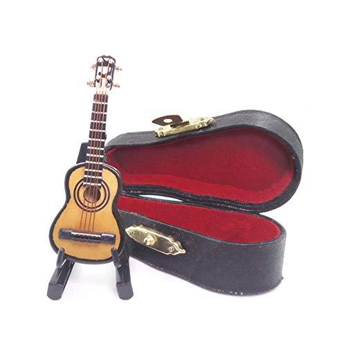 pittospwer 1/12 Gitarre aus Holz mit Ständer für Prua Musikinstrument für Puppenhaus Miniatur Mehrfarbig