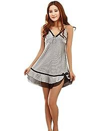 NiSeng mujer camison satín lujoso vestido de noche pyjamas patrón de puntos