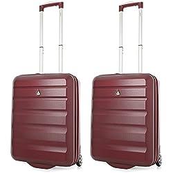 Aerolite 55x40x20 Tamaño Máximo de Ryanair y Vueling ABS Trolley Maleta Equipaje de mano cabina ligera con 2 ruedas, 2 x Vino