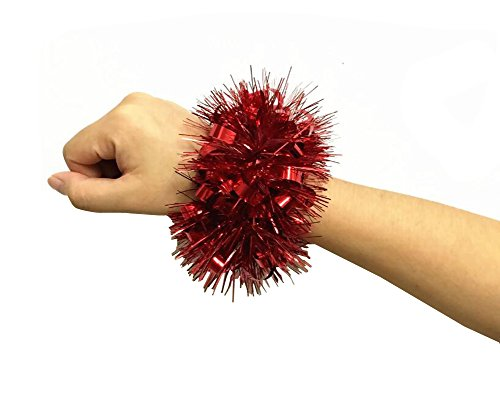 2 STÜCKE Cheerleader Cheerleader Blume Armband Hand Dekoration Werkzeuge Sport Party Zubehör Tanz Ball Party Sport Pompoms Jubeln Pom für Colleage Team Geist Corporate Events (Rot)