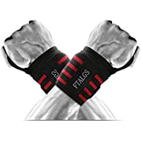 FTALGS Lifting Wrist Straps (1 Pair) - Cotton - Neoprene Padded - Bonus Ebook - for Weightlifting, Bodybuilding, Xfit, Strength Training, Powerlifting for Men & Women
