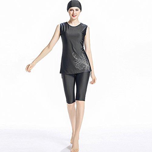 ziyimaoyi Muslimischer Kurzarm -, Bescheidenheit Muslim Islamischen Badeanzug Burqini UPF 50+, Surf-Anzug, Konservative Bademode für Frauen Damen Mädchen, Schwarz, Large (Muslimische Mädchen)