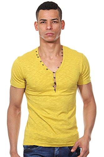KINGZ Henley T-Shirt slim fit Senf
