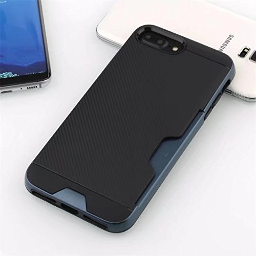 NEW SOFT CARBON TPU MOBILE CASE WITH CARD POCKET FOR APPLE IPHONE 7PLUS /IPHONE 8PLUS BLACK NAVY BLUE