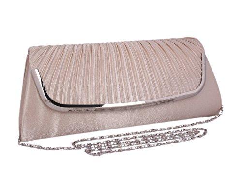Adoptfade Abendtasche Damen Clutch Tasche Falten Mit Metall verbrämt, Grau Grau