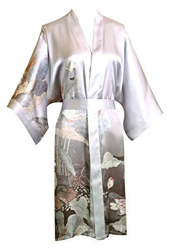 prettystern Damen Knie-lang Seide Kimono Wickel-Kleid Morgenmantel Robe Floral Print hell-grau SK01 (Haus Robe Kostüm)